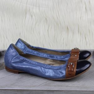 AGL Shimmer Suede Cap Toe Ballet Flats Blue Brown